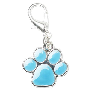 Blue Enamel Paw Dog Collar Charm - Posh Pawz Fashion