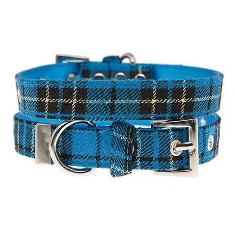 Blue Tartan Fabric Dog Collar - Posh Pawz Fashion