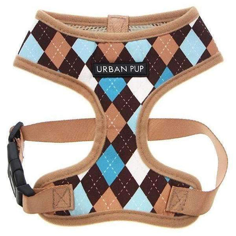 Brown and Blue Argyle Dog Harness - Posh Pawz Fashion