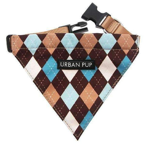 Brown and Blue Argyle Fabric Dog Bandana - Posh Pawz Fashion