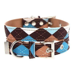 Brown and Blue Argyle Fabric Dog Collar - Posh Pawz Fashion