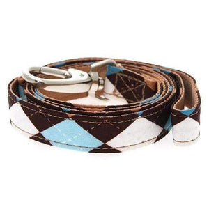 Brown and Blue Argyle Fabric Dog Lead - Posh Pawz Fashion