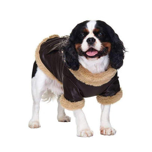 Brown Leather Flying Jacket Dog Coat - Posh Pawz Fashion