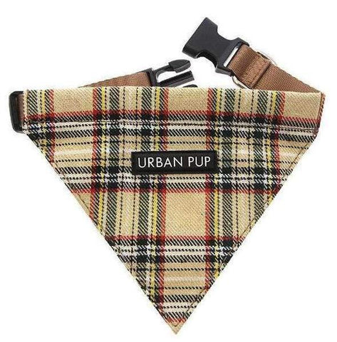 Brown Tartan Designer Fabric Dog Bandana - Posh Pawz Fashion