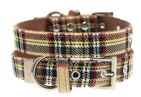 Brown Tartan Designer Fabric Dog Collar - Posh Pawz Fashion