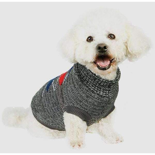 Charcoal Grey and Red Argyle Dog Jumper - Posh Pawz Fashion