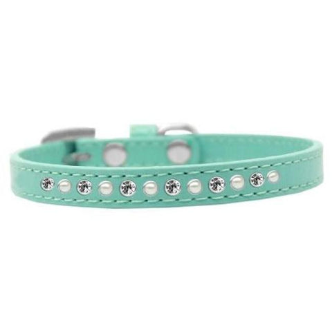 Crystal And Pearl Puppy Collar In Blue - Posh Pawz Fashion