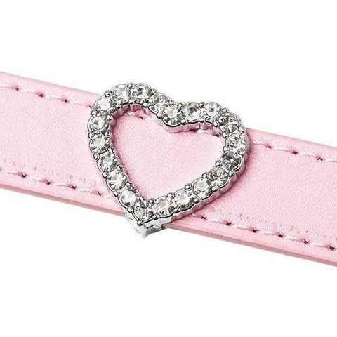 Crystal Heart 18mm Slider Collar Charm - Posh Pawz Fashion