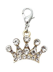 Diamante Gold Crown Dog Collar Charm - Posh Pawz Fashion