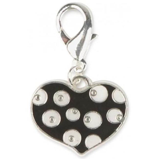 Dotty Heart Dog Collar Charm In Black - Posh Pawz Fashion
