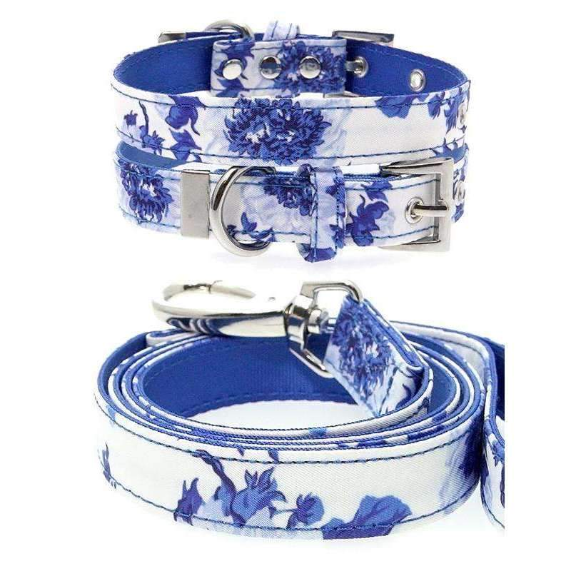 Floral Bouquet Fabric Dog Collar And Lead Set - Posh Pawz Fashion