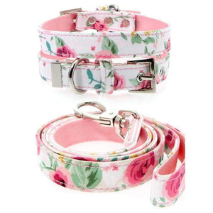 Floral Cascade Fabric Dog Collar And Lead Set - Posh Pawz Fashion