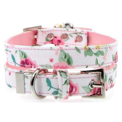 Floral Cascade Fabric Dog Collar - Posh Pawz Fashion