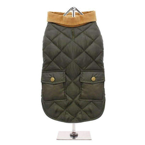 Forest Green Quilted Town And Country Dog Coat - Posh Pawz Fashion