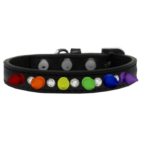 Funky Punky Crystal Spike Dog Collar In Black - Posh Pawz Fashion