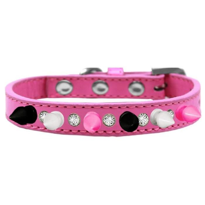 Funky Punky Crystal Spike Dog Collar In Pink - Posh Pawz Fashion