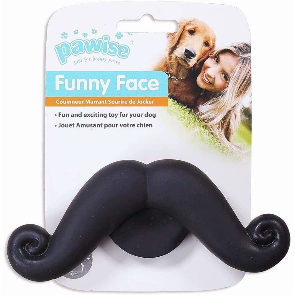 Funny Face Moustache Squeaky Dog Toy - Posh Pawz - 1