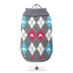 Grey and Pink Argyle Dog Jumper - Posh Pawz Fashion