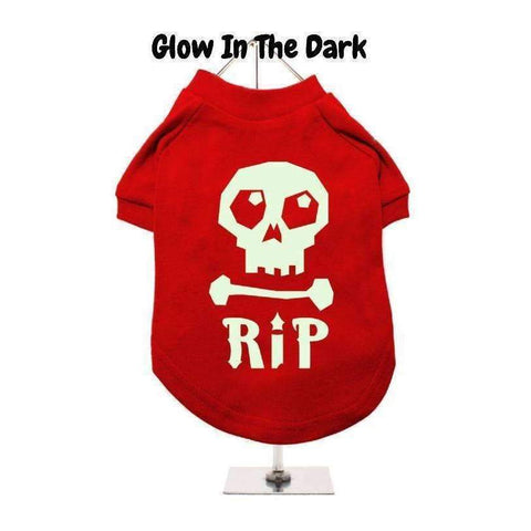 Halloween Skull R.I.P Dog T Shirt Red - Posh Pawz Fashion
