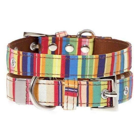 Henley Striped Fabric Dog Collar - Posh Pawz Fashion