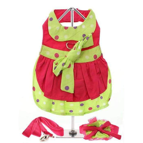 Hot Pink and Polka Dot Dog Harness Dress Set - Posh Pawz Fashion
