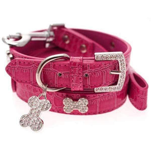 Hot Pink Leather Diamante Bone Dog Collar And Lead Set - Posh Pawz Fashion