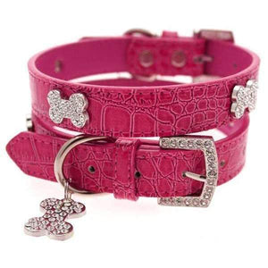 Hot Pink Leather Diamante Dog Collar And Bone Charm - Posh Pawz Fashion