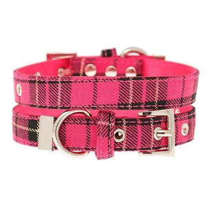 Hot Pink Tartan Fabric Dog Collar - Posh Pawz Fashion