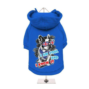 I Am Cool and I Know It Dog Hoodie Sweatshirt - Blue - Posh Pawz Fashion