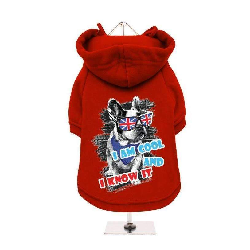 I Am Cool and I Know It Dog Hoodie Sweatshirt - Red - Posh Pawz Fashion