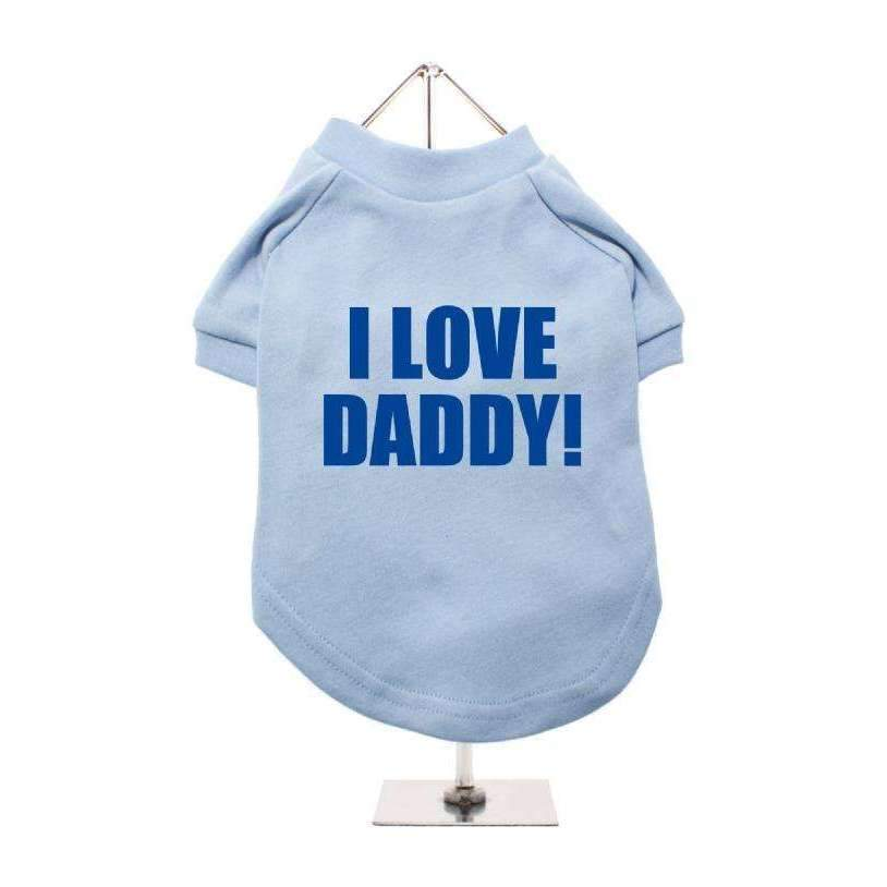 I Love Daddy Dog T-Shirt Blue - Posh Pawz Fashion