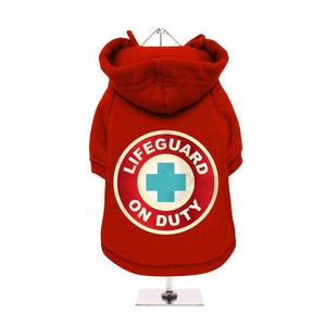Lifeguard On Duty Dog Hoodie Sweatshirt - Red - Posh Pawz Fashion