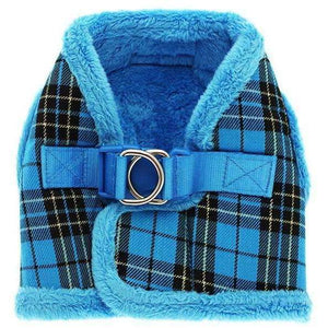 Luxury Fur Lined Blue Tartan Dog Harness - Posh Pawz Fashion