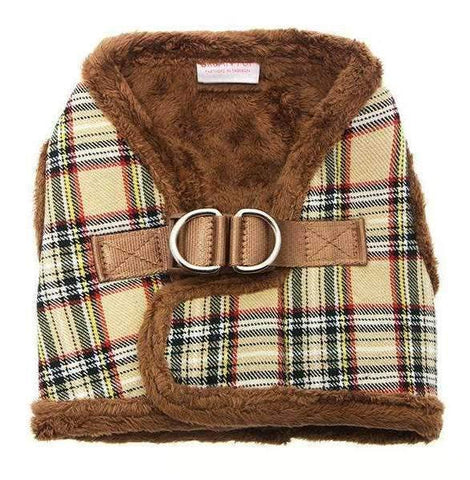 Luxury Fur Lined Brown Tartan Designer Dog Harness - Posh Pawz Fashion