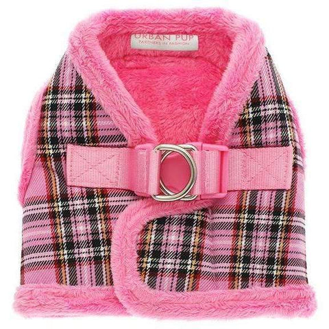 Luxury Fur Lined Pink Tartan Dog Harness - Posh Pawz Fashion
