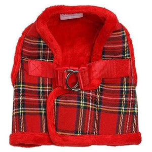 Luxury Fur Lined Red Tartan Dog Harness - Posh Pawz Fashion
