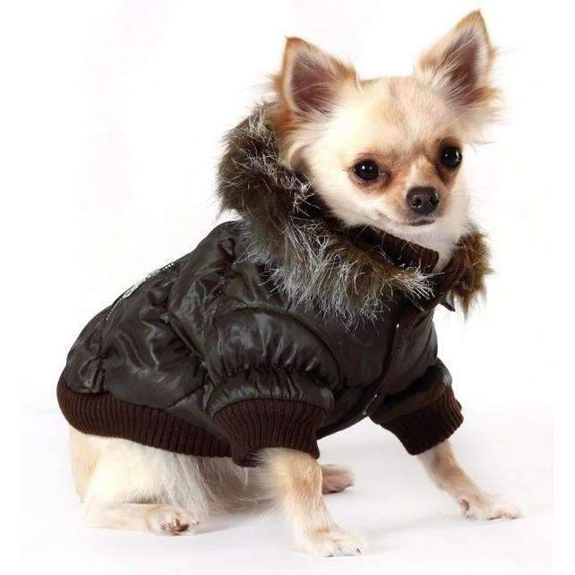 Urban Pup Luxury Quilted Dog Coat Dark Brown Small - Posh Pawz Fashion