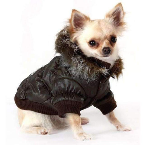 Luxury Quilted Dog Coat With Detachable Hood Dark Brown - Posh Pawz Fashion