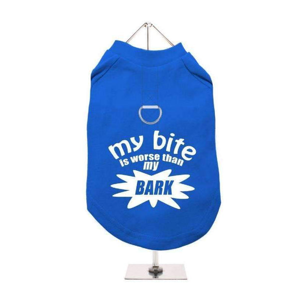 My Bite Is Worse Than My Bark Harness Lined Dog T-Shirt Blue - Posh Pawz Fashion