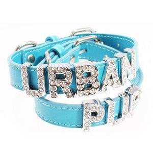 Personalised Plain Leather Dog Collar In Blue - Posh Pawz Fashion