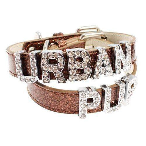 Personalised Plain Leather Dog Collar In Glitter Brown - Posh Pawz Fashion