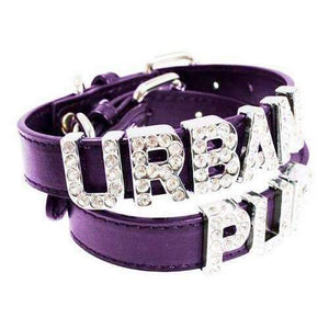 Personalised Plain Leather Dog Collar In Purple - Posh Pawz Fashion