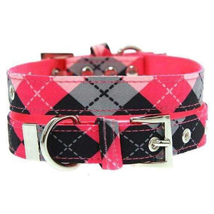 Pink Argyle Fabric Dog Collar - Posh Pawz Fashion
