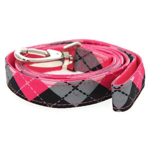 Pink Argyle Fabric Dog Lead - Posh Pawz Fashion