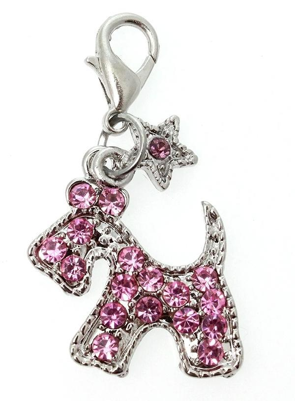 Pink Diamante Scottie Dog Collar Charm - Posh Pawz Fashion