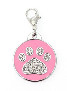 Pink Enamel Diamante Paw Dog Collar Charm - Posh Pawz Fashion