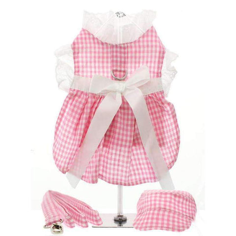 Pink Gingham and White Ribbon Dog Harness Dress Set - Posh Pawz Fashion
