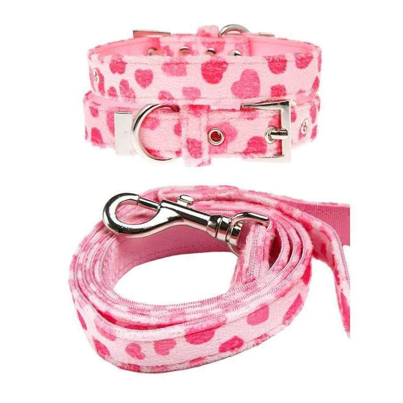 Pink Hearts Fabric Dog Collar And Lead Set - Posh Pawz Fashion
