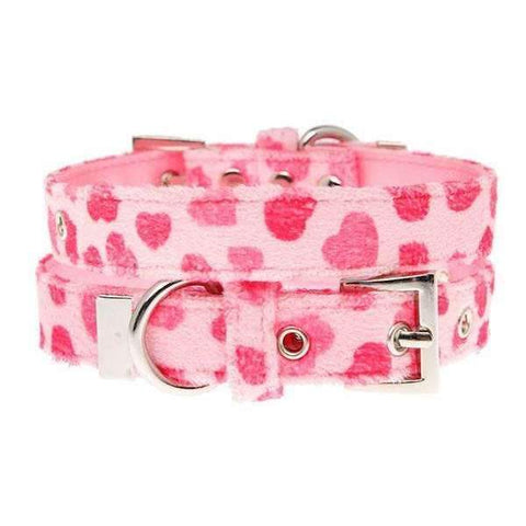 Pink Hearts Fabric Dog Collar - Posh Pawz Fashion