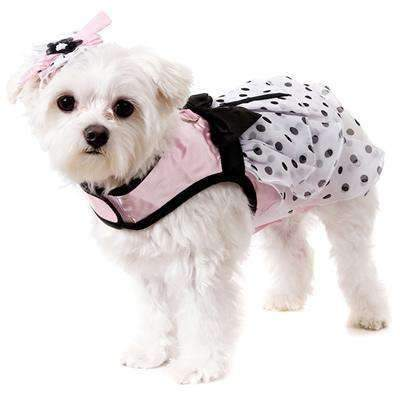 Pink Satin and Hearts Chiffon Dog Harness Dress Set - Posh Pawz Fashion